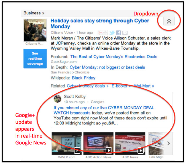 Google Plus in Google News