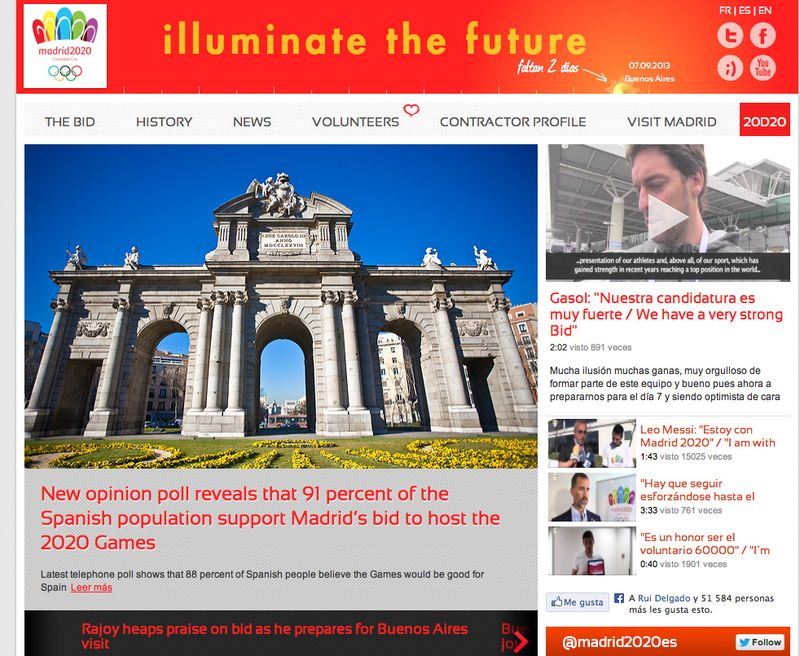 Madrid 2020 homepage