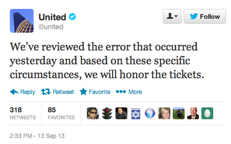 United Airlines tweet
