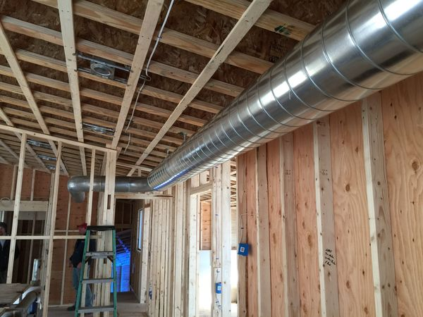 Exposed Spiral Duct : Exposed spiral ductwork techbuilt renovation